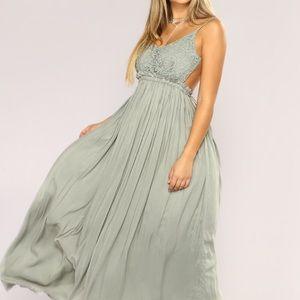 NWT FASHION NOVA SAGE/GREEN WHIMSICAL DRESS